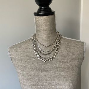 BNWT Antique Silver Layered Necklacd